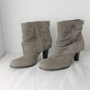 BCBG Paris Slouched Suede Taupe Ankle Boot Size 10